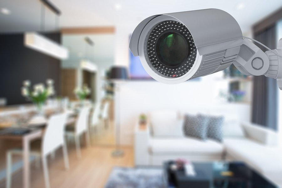 3d rendering security camera or cctv camera in house