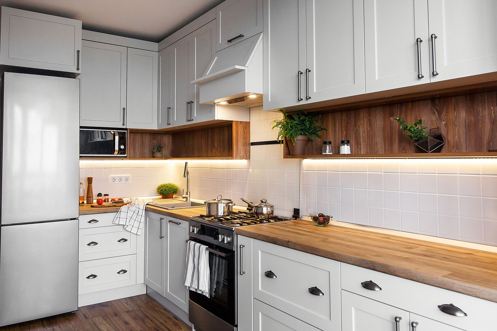 White cabinet with bright lights