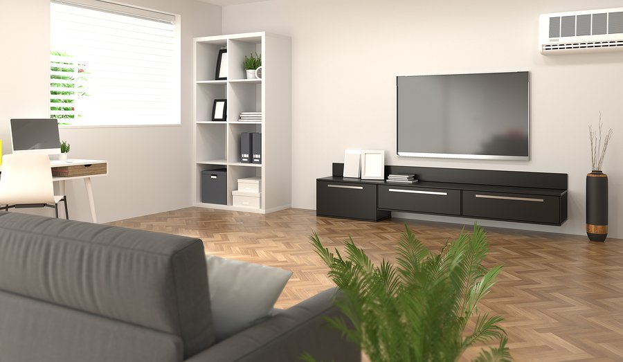 Smart home,room, sofa,Tv,notebook,desk in front of the white brick wall living room lounge model home office interior Meeting rooms have computers and Online business 3d rendering